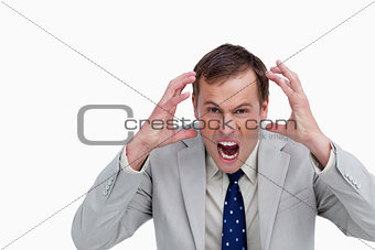 Close up of furious yelling businessman