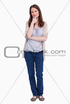 Woman in thinkers pose