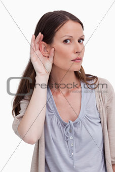 Close up of woman listening closely