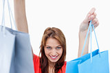 Smiling teenage girl holding shopping bags