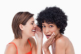 Teenage girl whispering a secret to a surprised friend