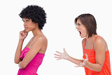 Side view of an arguement between two teenage girls