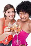 Young smiling women clinking their glasses of white wine