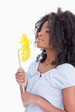 Young curly woman smelling a beautiful flower