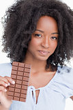 Young woman holding a delicious chocolate bar