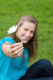 Beautiful white flower held by a young attractive girl in a park