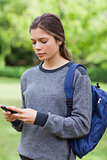 Young serious girl sending a text while standing in the countrys