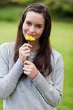 Young relaxed woman smelling a yellow flower while standing in a