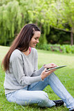 Smiling young girl using her tablet pc while sitting in a park