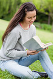 Young relaxed girl sitting on the grass in a park while reading 