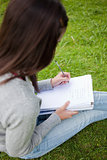 Overhead view of a young student doing her homework in a park