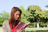 Woman reading a book in a sunny grassland area