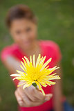 Woman holding a yellow flower in one hand at arms reach