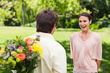 Woman enthusiastic as she is about to be suprised