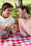 Two friends looking at each other a smiling during a picnic