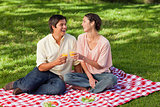 Two friends laughing while raising their glasses during a picnic