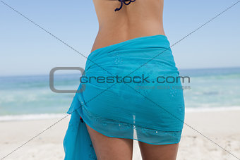Rear view of a young woman standing in front of the sea with a s