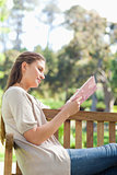 Side view of a woman reading a book on a park bench
