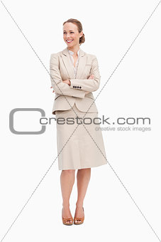 Blonde businesswoman smiling