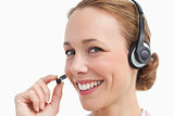 Portrait of a businesswoman talking with a headset