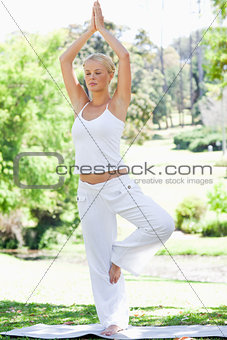 Calm woman doing yoga exercises in the park