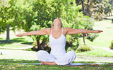Woman on the lawn doing yoga exercises