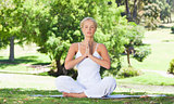 Woman on the lawn doing her yoga exercises
