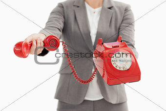 Business person holding a phone