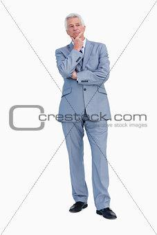 Businessman hesitating