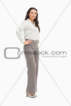 Portrait of an employee arms on hips