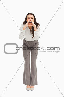Portrait of an employee yelling
