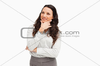 Cute smiling businesswoman posing