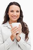 Brunette with a mug