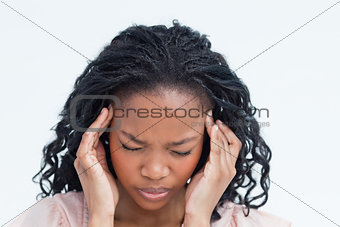 A woman having a headache