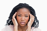 A young woman having migraine