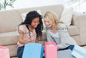 Two smiling women with shopping bags