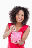 Piggy bank receiving dollar notes
