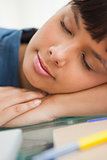Close-up of a smiling student sleeping
