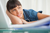 Female student with earphones