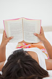 Rear view of a young woman reading a novel