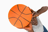 Overhead view of basketball player