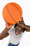 High angle view of smiling basketball player