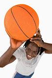 High angle view of smiling basketball player