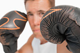 Close up of boxer with gloves on