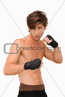 Martial arts fighter ready to fight