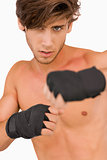 Male martial arts fighter in fighting pose