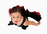 Overhead view of dancing woman