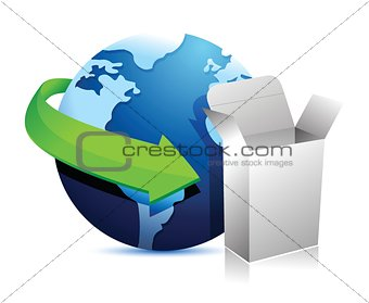 globe arrow and product box