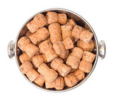 Wine Corks in Bucket, top view
