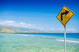 roadsign at areia branca beach near dili east timor